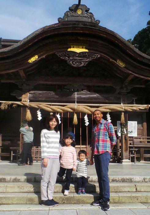 Visiting Okuni Shrine with my host family.